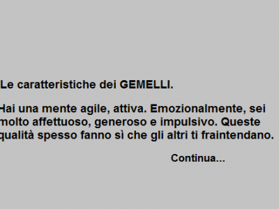 Le caratteristiche dei GEMELLI.
